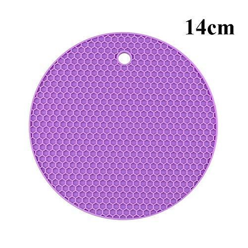 XINGJIJIJIA Opener 18/14 / 9cm Untersetzer for Küchenhelfer Silikon Hitzebeständige Antirutschmatten Isolierung Pad Tischset Küchenzubehör Waren Handbuch (Color : 14cm Purple)