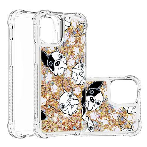 Funda Girly para iPhone 12, Apple iPhone 12 de 5,4 pulgadas con purpurina líquida Bling Quicksand híbrido resistente a los golpes suave transparente cubierta de parachoques del teléfono (cachorro)