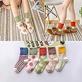 Aerlan - Calcetines de entrenamiento con control de la humedad, calcetines de punto de lunares, bonitos calcetines a rayas, de algodón de corte bajo, B5 Doble, L code