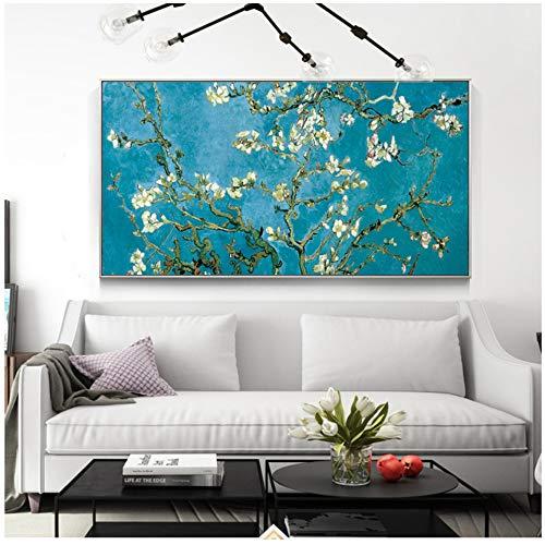 HYFBH Mandelblüte Gemälde an der Wand von Van Gogh Impressionist Mandelblüte Wandkunst Leinwand Bilder Home Decor-60x90cm mit Rahmen