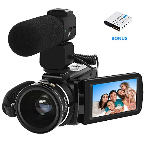 Video Camera LAKASARA Camcorder Full HD 1080P 30FPS WiFi Camera Camcorders with External Microphone and Wide Angle Lens