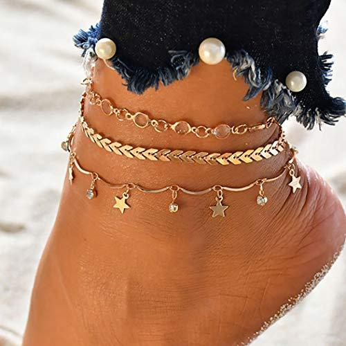 Bohend Boho En capas Estrella Calcetín Oro Diamante de imitación Pulseras de tobillo Multicapa Con cuentas Cadenas de pie Accesorios de joyería para Las mujeres y las niñas