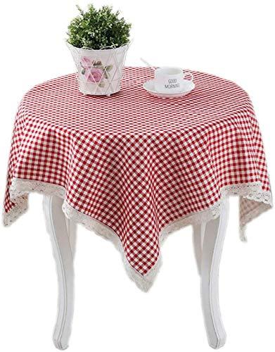 Yooepd - Mantel de lino y algodón, lavable, resistente a las manchas, resistente a las arrugas, rectangular, a cuadros, para decoración de mesa de comedor, cocina, 150 x 150 cm