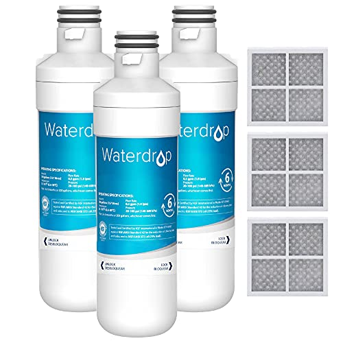 Waterdrop LT1000PC ADQ747935 MDJ64844601 Refrigerator Water Filter and Air Filter, Replacement for LG LT1000P, Kenmore 46-9980, 9980, ADQ74793501, ADQ74793502 and LT120, 3 Combo(Packaging may vary)