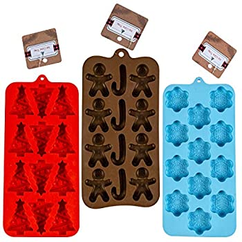 Holiday Silicone Ice Cube Tray Candy Molds in 3 assorted trays RED -Christmas Tree shapes Powder Blue-Snowflake shapes Dark Brown-Gingerbread Man Candy cane shapes