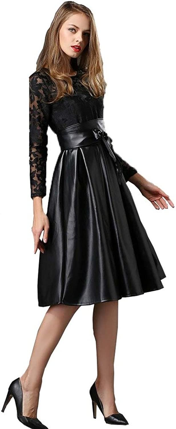 Angel&Lily Embroidery lace Faux Leather Party Dress plus1x10x(SZ1652)
