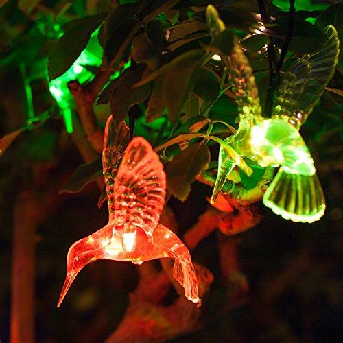 Lights4fun Guirlande Lumineuse Solaire avec 10 Colibris à LED de Couleur Changeante pour Jardin