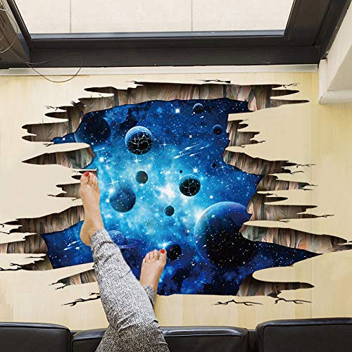 HGFHFHIO Living Room Bedroom Wall Decoration 3d Wall Stickers Dark Blue Galaxy Planet Pvc Removable Three-Dimensional Floor Stickers Decorative Paintings