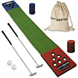 Putt Partee Indoor-Outdoor Golf Game Set - Golf Pong Putting Game with 11 Ft. Flat Green, 2 Height-Adjustable Putters, 2 Balls, & Bag. Portable Tailgating, Drinking, or Backyard Games for All Ages