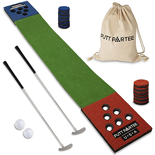 Putt Partee Golf Pong Putting Game - Set of 2 Foldable putters, 2 Balls, 1 Putting mat for Outdoor and Indoor use with Carrier Bag. Best Party Game Set.