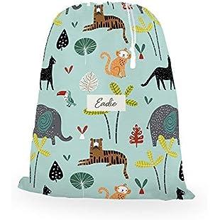 Izabela Peters Personalised Jungle, Kids, Childrens, Gym, Ballet, Sports, Shoe, Pump, Drawstring Bag - Aqua Blue