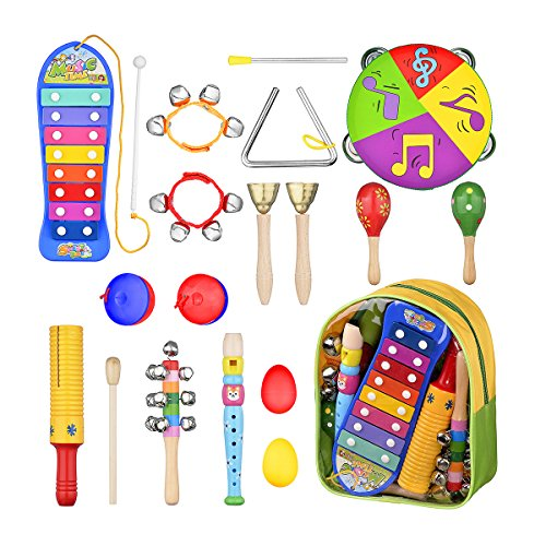 Toddler Musical Instruments - 16 Pcs Preschool Learning Percussion Toys for Toddlers with Storage Backpack