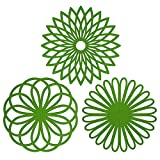 Mantel multiusos, protector para mesa con forma de flor, material de silicona (paquete de 3), aislable, flexible, durable, antideslizante, resistente almohadilla para cosas calientes y cubre vasos