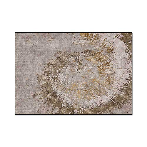 whmckl Stylish modern minimalist abstract brown gold annual ring living room bedroom bedside carpet floor mat140*200