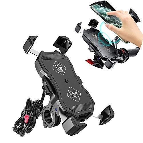GUARDUU Soporte Movil para Moto Impermeable 12 V Carga Rápida USB Cargador Cargador Inalámbrico Soporte Soporte Movil Moto con Rotación De 360 ° para 4.7''-6.5'' Teléfono