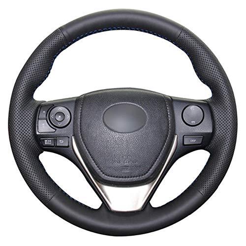 SAXTZDS Cubierta de Volante de Coche DIY de Cuero Artificial PU Negro, Apto para Toyota RAV4 2013-2019 Corolla 2014-2019 Auris 2013-2016 Scion iM 2016