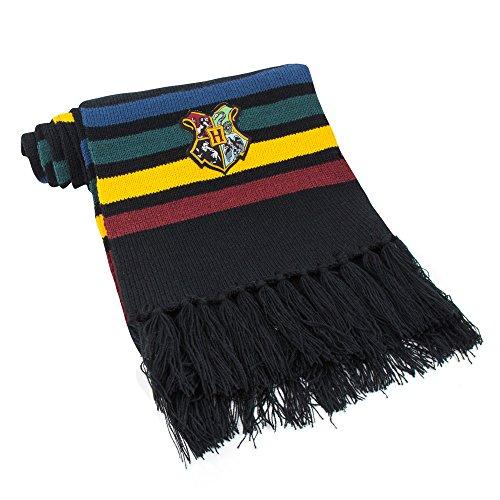 Cinereplicas - Harry Potter - Schal- Super weich - Offiziel lizensiert - Hogwarts- 190 cm – Schwarz mit roten , gelben, grünen & blauen Streifen