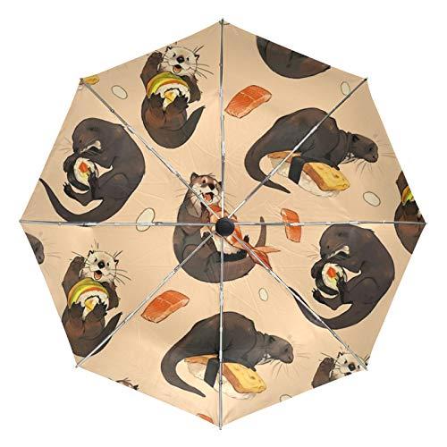 Kleiner Reiseschirm Winddicht im Freien Regen Sonne UV Auto Compact 3-Fach Regenschirm Abdeckung - Dichtung