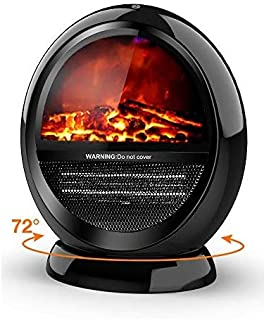 Space Heater - Bedroom Space Heater with 2 Heat Settings, Electric Space Heater with Tip-Over Shut Off, Oscillating Heater, Fireplace Heaters for Indoor Use, Low Noise, Flame Effect, M, Black