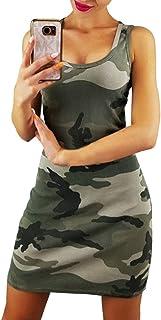 Shallood Vestito da Donna Senza Maniche V Collo Mini Vestiti Moda Camouflage Sera Festa Spiaggia Abiti Sundress Stampa Sti...