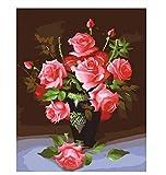 ksyklys Art Pintura de Numbers Kit DIY preimpreso Lienzo Pintura al óleo Regalos para niños Adultos decoración de la Pared Flores Marco de Bricolaje 40x50cm