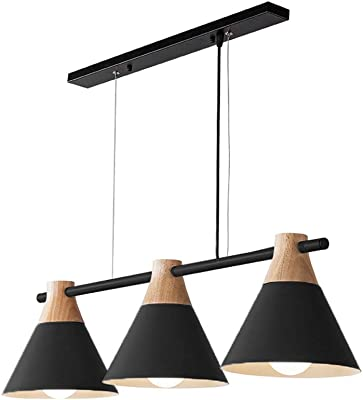 Baycheer Hl463077 Industrial 3 Light Island Light Pendant Lights With Cone Metal Shade In Nordical Style Hanging Lamp For Indoor Bar Cafe Warehouse Hallway Black Amazon Com