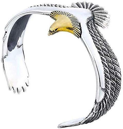 S925 Silber Eagle Manschette Armband, 2 Stück verstellbarer Vintage Open Ended Armreif für Männer Frauen (Gold)