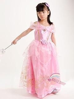 プリンセスなりきり 子供 ドレス キッズ 子ども お姫様 ワンピース  お姫様ドレス 女の子 なりきり キッズドレス シンデレラ/ラプンツェル/ベル/オーロラ姫 (100サイズ, ピンク風)