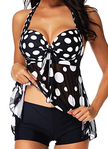 INSTINNCT Damen Retro Push Up Gepolsterter Bauchweg Figurumspielender Tankini Set mit Bügel Raffung Röckchen Effekt Oberteil Hotpants Schwarz XL