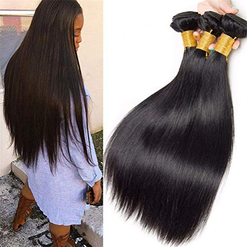 GWM Rôle de la Vierge Brésilienne Jouant Cheveux Raides 3 Bouquets de Cheveux Raides et Soyeux Latitude 8A Remy Naturel Couleur Extension de Cheveux Humains Noir (8-28 Pouces) (Taille : 20inch)