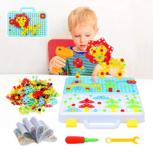 Pickwoo 252+ Pieces Electric DIY Drill Educational Set, Building Block Games Set STEM Learning Toys, 3D and 2D Construction Engineering Building Blocks for Boys and Girls, Creative Games and Fun