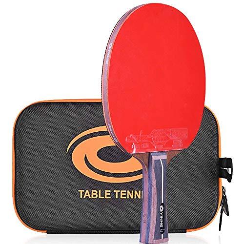 Lerten Palas de Ping Pong,Bate de Tenis de Mesa Raqueta de Carbono de 12 Estrellas con Excelente Control Y Giro Adecuada para Intermedios Profesionales/A/mango largo