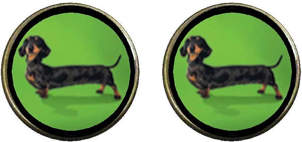 GiftJewelryShop Bronze Retro Style Weiner Dog Photo Clip On Earrings 16mm Diameter
