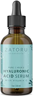 Zatoru Hyaluronic Acid Serum with Vitamin C for Face and Skin - 100% Pure Organic Vegan for Anti-aging Moisturizer and Pro...