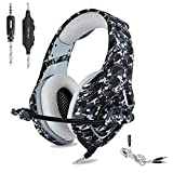 ONIKUMA PS4 Gaming Headset 3.5mm Stereo Camouflage Gaming Headphones with Noise Canceling Mic