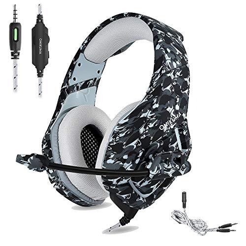 PS4 Gaming Headset ONIKUMA, Camouflage, 3,5 mm Stereo Gaming Kopfhörer mit rauschunterdrückendem Mikrofon, für Xbox One S, PC, PS4, Smartphones, Laptop, Computer (grau)