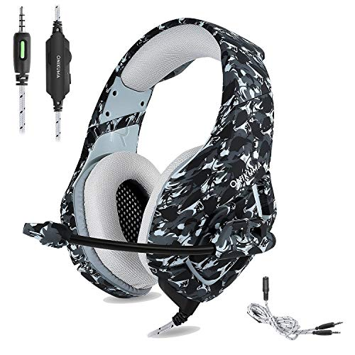 ONIKUMA Auriculares Gaming Cascos de Camuflaje Xbox One PS4 Headset, Diseño de Camuflaje con Mic Enchufe Simple DE 3,5 mm y Adaptador 2 en 1, para PS4/Xbox One/PC/Mac/iPad/Móvil