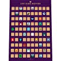 """Enno Vatti 100 Kids Movies Scratch Off Poster – Top Family Films of All Time List (16.5"""" x 23.4"""")"""