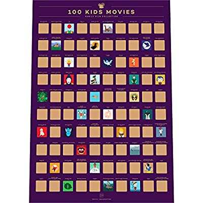 "Enno Vatti 100 Kids Movies Scratch Off Poster – Top Family Films of All Time List (16.5"" x 23.4"")"