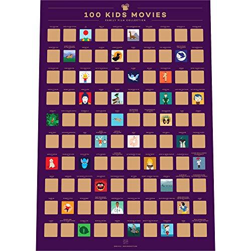 Enno Vatti 100 Kinderfilme Scratch Off Poster – Die besten Familienfilme Aller Zeiten (42 x 59.4 cm)