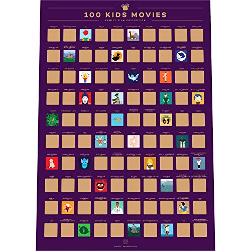 Enno Vatti 100 Kids Movies Scratch Off Poster – Top Family Films of All Time List (16.5' x 23.4')