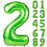 Unisun Globo verde número 2, 101.6 cm de helio gigante número de 0 a 9 años para fiesta de cumpleaños, boda, despedida de soltera, sesión de fotos, aniversario (verde | 2)