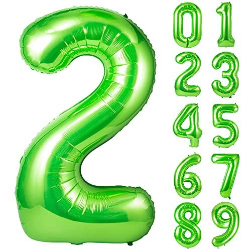 Unisun Palloncino verde numero 2, 101,6 cm gigante elio numero 0 a 9 anni palloncino per feste di compleanno, matrimoni, feste di fidanzamento, foto di anniversario, (verde | 2)