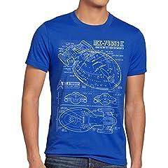 NCC-74656 Cianotipo Camiseta para Hombre T-Shirt Fotocalco Azul Voyager