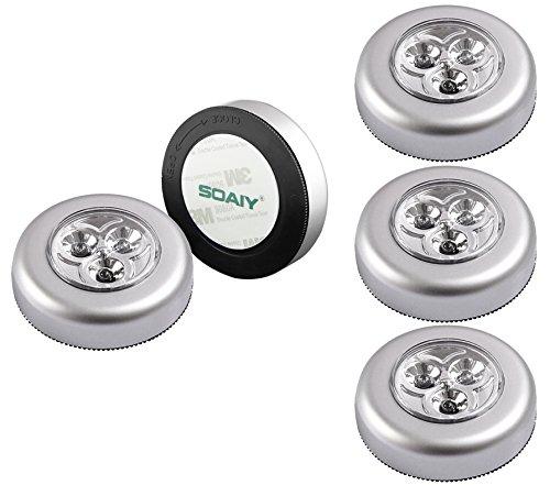 SOAIY 5er-Set Stick&Push LED Touch Lampe Nachtlicht Leuchten Batteriebetrieben selbstklebend Küchenlampen Schrankleuchten