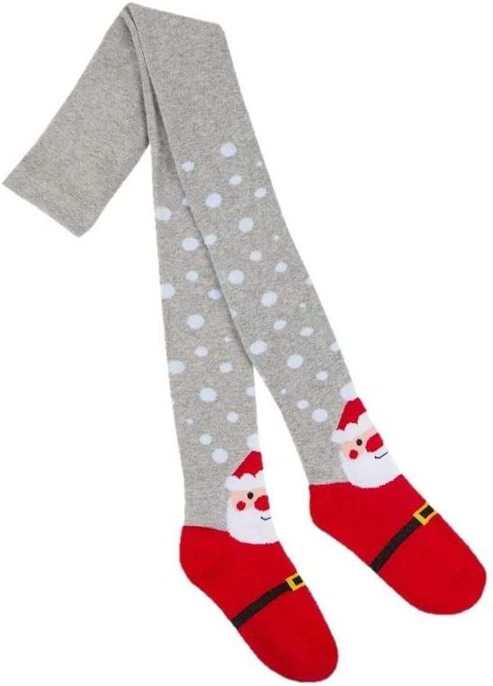 Girls festive tights style 46B381 colour navy robin size 3-4