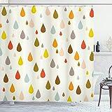 ABAKUHAUS Bunt Duschvorhang, Retro Wassertropfen Regen, aus Stoff inkl.12 Haken Digitaldruck Farbfest Langhaltig Bakterie Resistent, 175 x 220 cm, Multicolor