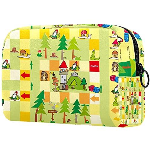 Reise-Make-up-Tasche Kleine Kosmetiktaschen für Frauen Tragbare Reißverschlusstasche mit großer Kapazität Spielturm süß für den täglichen Gebrauch der Geldbörse