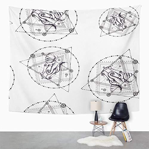 Y·Jiang Tapisserie bohème, éléphant et triangulaire pyramide tendance Hipster Home Dorm Grande tapisserie murale à suspendre pour salon, chambre à coucher, 80 x 152 cm