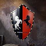 QININQ Escudo Escultura, Escudo Medieval Escudo de Caballero Montaje en la Pared Escudo Espartano de Metal Romano Antiguo Espada y Escudo, Coleccionable Decorativo para el hogar, esculturas
